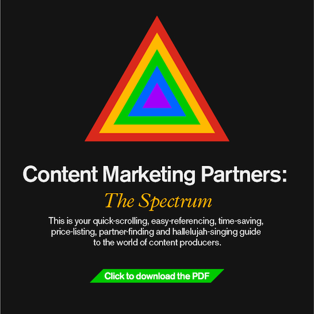 An infographic illustrating the landscape of content marketing partners, with examples and lists