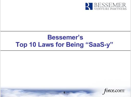 Bessemer's Ten Laws for SaaS companies